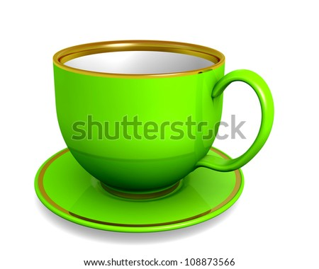 Cup, green color over white. 3d illustration