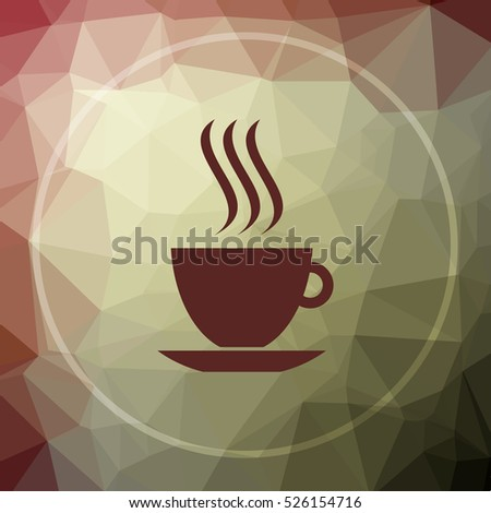 cup icon. cup website button on khaki low poly background.