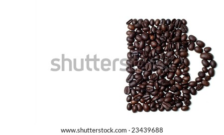 cup made of coffee beans - stock photo