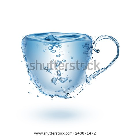 Cup made of water isolated on white background - stock photo