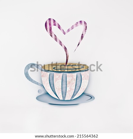 Cup (mug) of hot drink (coffee, tea etc) - stock photo