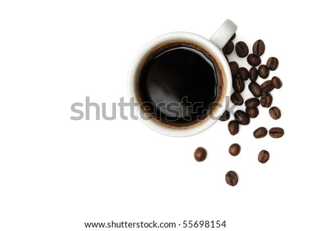 Cup of black coffee and beans isolated on white - stock photo