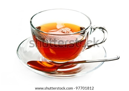 Cup of black, strong tea on white background. - stock photo