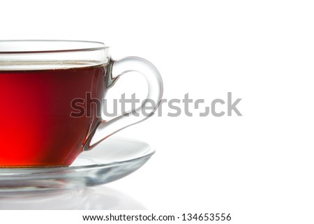 Cup of black tea isolated on white - stock photo