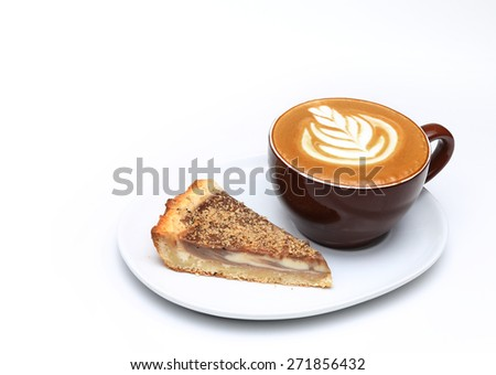 Cup of cappuccino and a piece of cake. Latte art. Isolated on white - stock photo