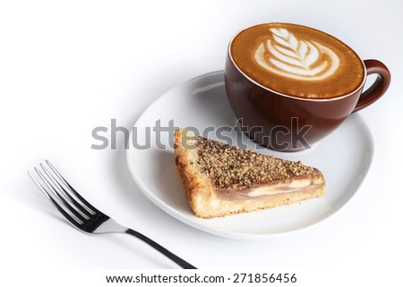 Cup of cappuccino and a piece of cake. Latte art. White background - stock photo