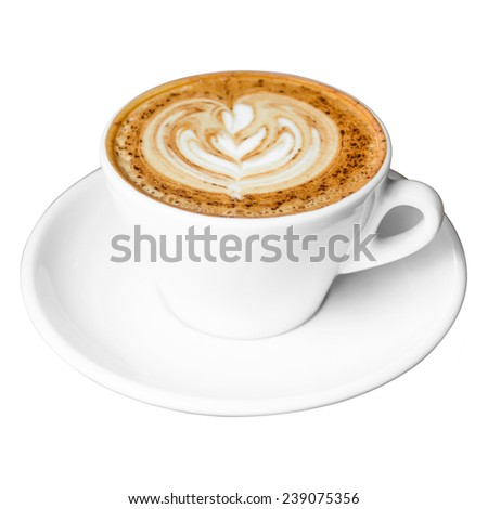 Cup of Cappuccino Coffee with Latte Art Isolated on white background. - stock photo