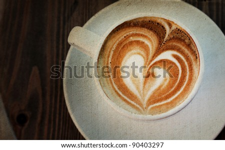 Cup of cappuccino. Photo in old image style. - stock photo