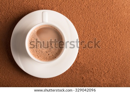 Cup of cappuccino with coffee mousse on the top of drink - stock photo