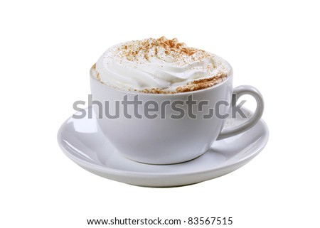 Cup of cappuccino with cream and nutmeg - stock photo