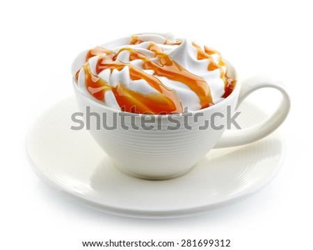 cup of caramel latte coffee with whipped cream isolated on white background - stock photo