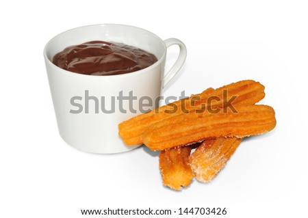 cup of chocolate with churros, typical Spain - stock photo