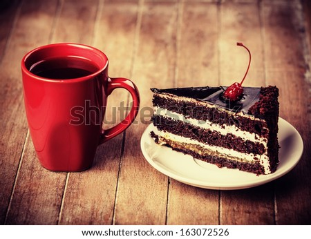 Cup of coffe with cake  - stock photo
