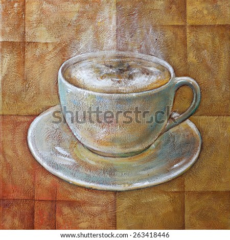 Cup of Coffee, Acrylic Textured Painting on Canvas. - stock photo
