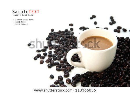 Cup of coffee and beans on white - stock photo