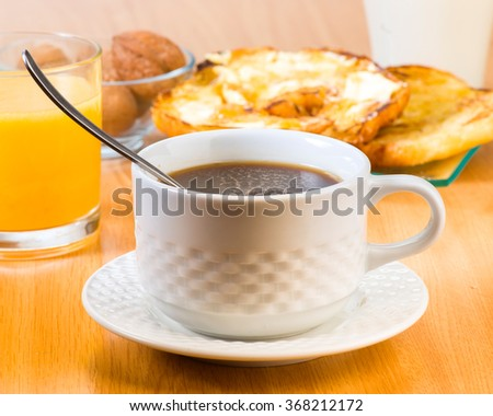 cup of coffee and breakfast - stock photo