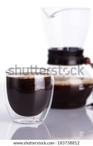 Cup of coffee and chemex. Shallow dof. - stock photo