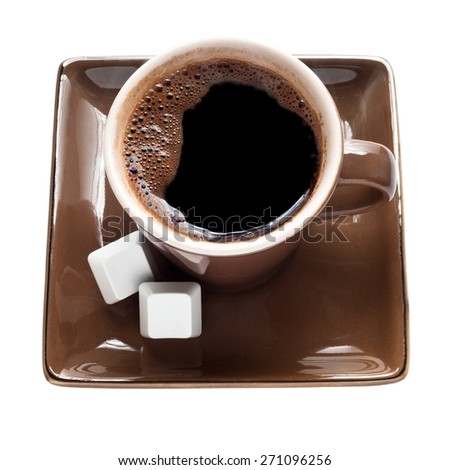 Cup of coffee and keys pc - stock photo