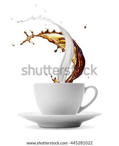 cup of coffee and milk splashes isolated on white - stock photo