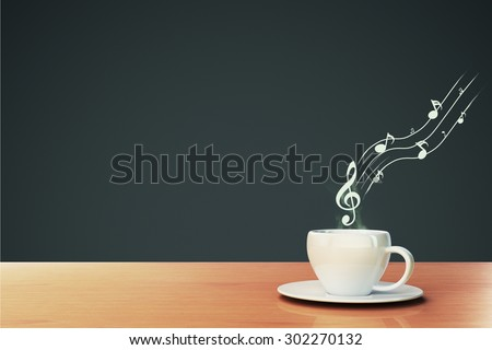 cup of coffee and musical notes, concept - stock photo