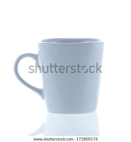 cup of coffee and reflect isolated on white