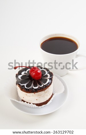cup of coffee and sweet cake - stock photo