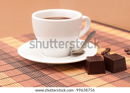 cup of coffee and sweets - stock photo