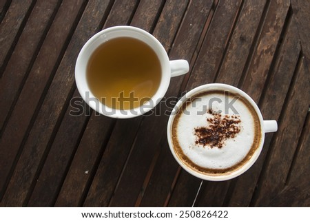 cup of coffee and tea - stock photo