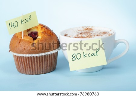 Cup of coffee and the blueberry muffin with calories count labels - stock photo
