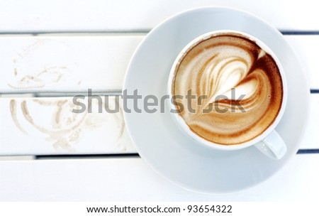 cup of coffee, and traces of a cup of coffee - stock photo