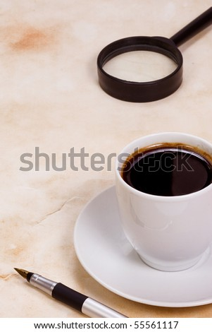cup of coffee at paper texture - stock photo