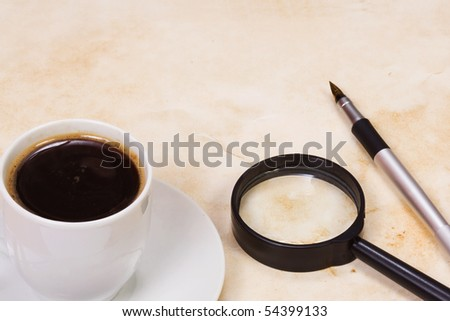cup of coffee at table - stock photo