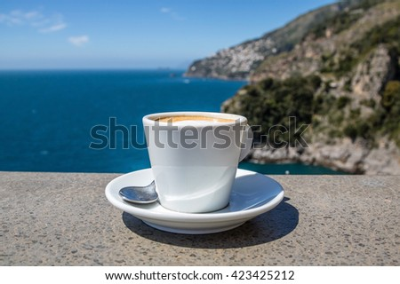 Cup of coffee at the seaside of Amalfi Coast, Italy - stock photo