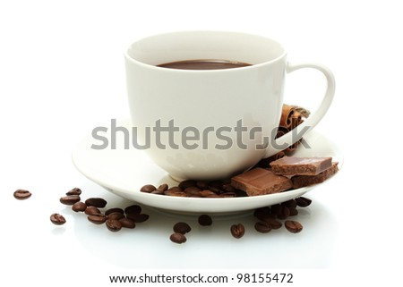 cup of coffee, beans and chocolate isolated on white - stock photo
