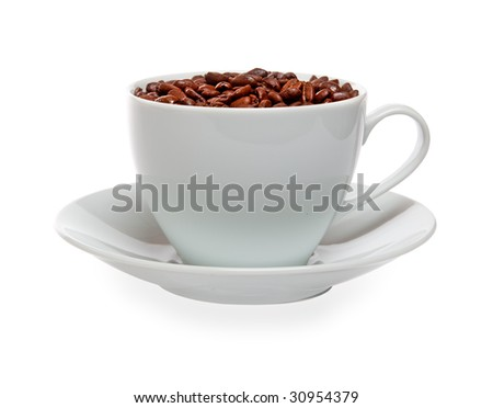 cup of coffee beans isolated over white background - stock photo