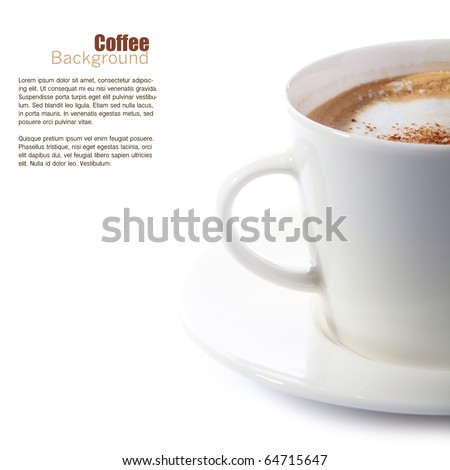 Cup of coffee (cappuccino) on white background - stock photo