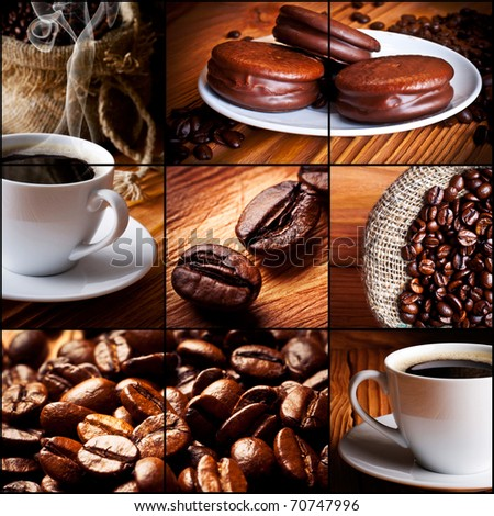 Cup of coffee, chocolate cookies. Sack with coffee grains