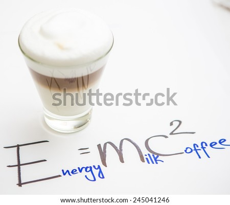 Cup Of Coffee. Coffee in cup with red heart and dessert. Handwriting formula coffee. Creative concept. - stock photo