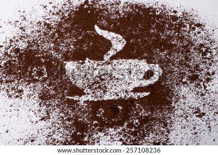 Cup of coffee. Cup of coffee made from coffee powder. - stock photo