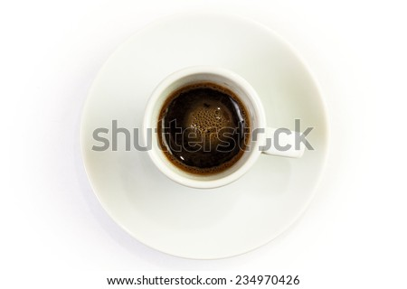 Cup of coffee espresso isolated on white background, top view - stock photo