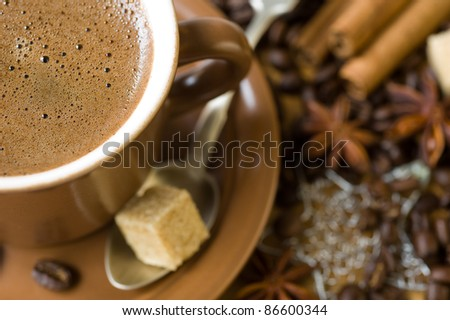 cup of coffee, grains and spices