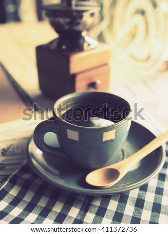 cup of coffee in vintage color tone