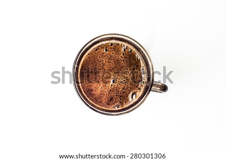 Cup of coffee isolated on a white background, top view - stock photo