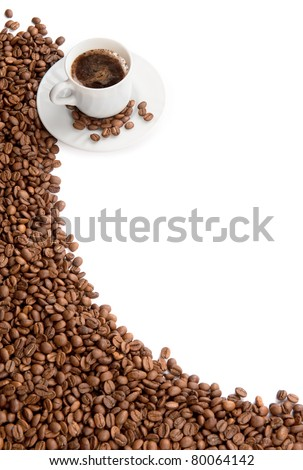 cup of coffee isolated over white background - stock photo