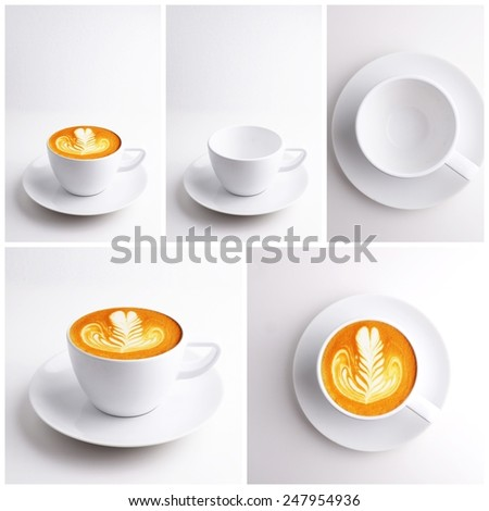 cup of coffee latte art in coffee shop collage  - stock photo