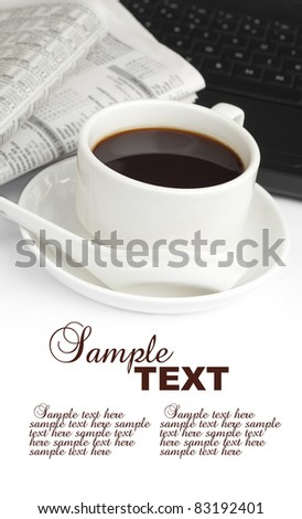 cup of coffee,newspaper and notebook with sample text - stock photo