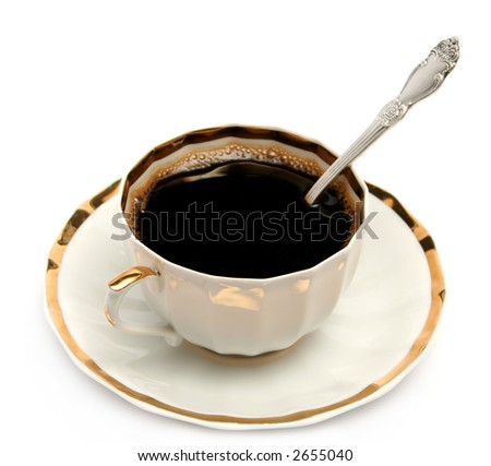 Cup of coffee on a plate - stock photo