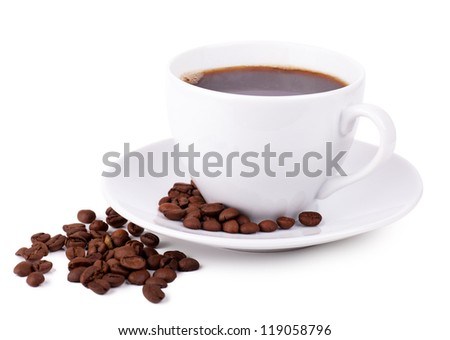 Cup of coffee on a plate with coffee beans - stock photo