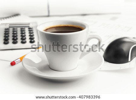 cup of coffee on desktop