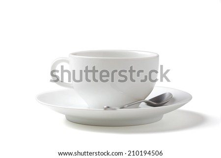 Cup of Coffee on the white background. - stock photo